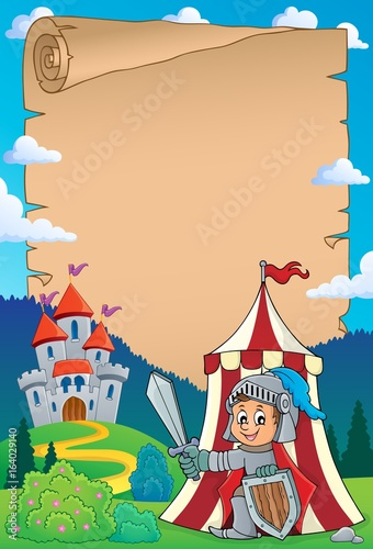 Parchment with knight by tent theme 1