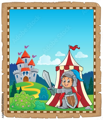 Parchment with knight by tent theme 2