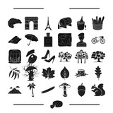 art, ecology, nature and other web icon in black style.restaurant, travel, tourism, icons in set collection.