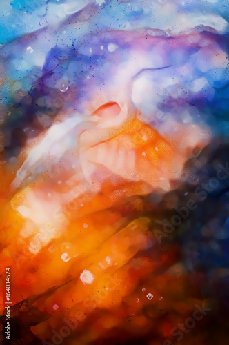 abstract watercolor style background with beautiful harmonic colours and bird motive.