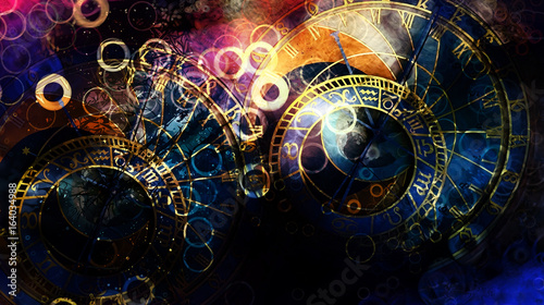 astrological symbol Zodiac. Abstract color background. Computer collage.