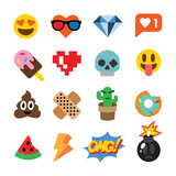 Set of cute emoticons, stickers, emoji design, isolated on white background