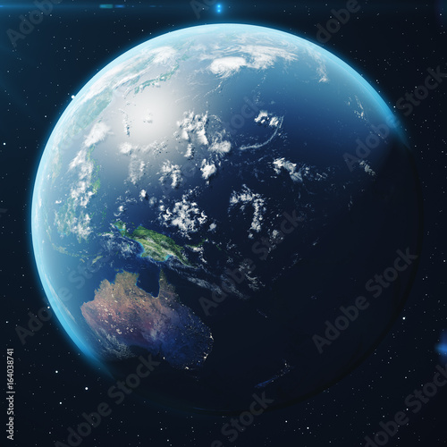 3D Rendering Planet earth from the space at night. The World Globe from Space in a star field showing the terrain and clouds Elements of this image furnished by NASA.