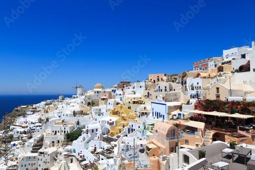 Landscape of town OIA in Santorini island in Greece