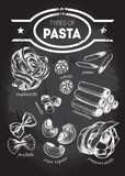 Different types of authentic Italian pasta - tagliatelle, rotelli, penne, annelli, cannelloni, farfalle, pipe rigate, pappardelle. Hand drawn set. Vector illustration on the blackboard. - 164043126
