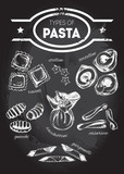 Different types of authentic Italian pasta - ravioli, stelline, tortellini, gnocchi, sacchettini, casarecce, garganelli. Hand drawn set. Vector illustration on the blackboard. - 164043197