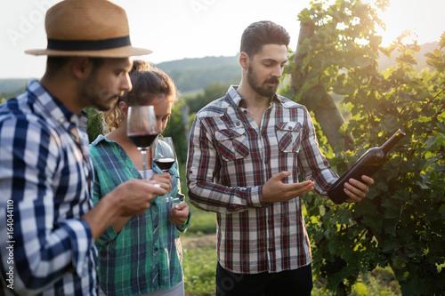 Wine grower and people in vineyard