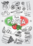 Different types of authentic Italian pasta. Hand drawn set. Vector illustration in vintage style. Menu or signboard template for restaurant. - 164044325
