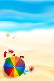 Abstract background top view of sand and sea beach starfish shell rock and umbrella with copy space for summer vacation concept 003