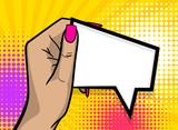 Fototapety Pop art comic text cartoon girl woman hand show empty speech bubble, message balloon. Human guy wow poster halftone dot background. Gesture advertisement arm illustration.