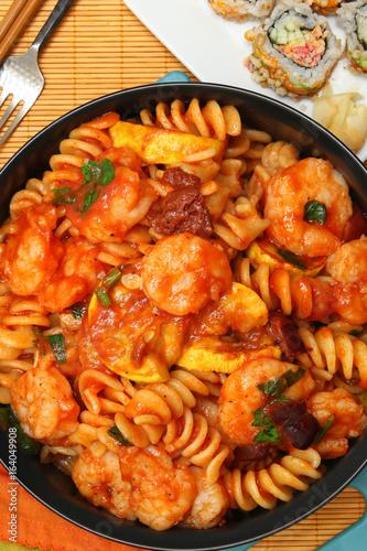 Asian Italian Fushion Pasta Shrimp and Sushi Meal