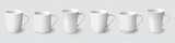 Set of realistic white coffee mugs isolated on transparent background