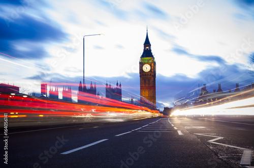 night traffic at Big Ben in London City