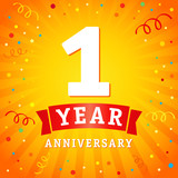 1 year anniversary logo celebration card. 1st year anniversary vector background with red ribbon and confetti on yellow flash radial lines - 164056551