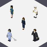 Isometric Human Set Of Seaman, Investor, Businesswoman And Other Vector Objects. Also Includes Worker, Housekeeper, Cleaner Elements. - 164060588