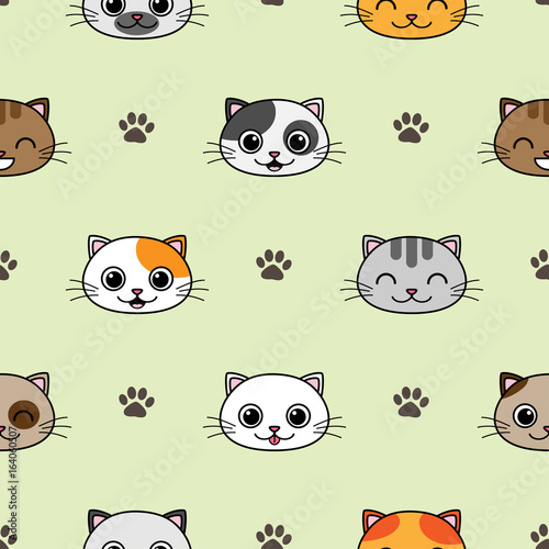 Fototapeta Cute vector seamless pattern with cats