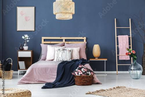 Decorative ladder in bedroom