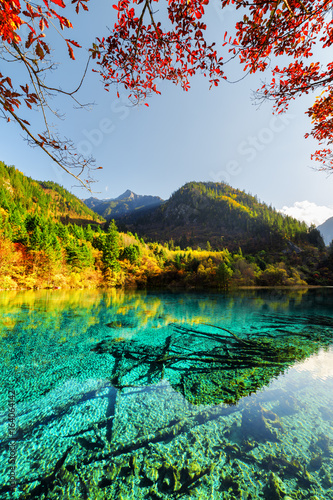 Amazing view of the Five Flower Lake among colorful fall woods