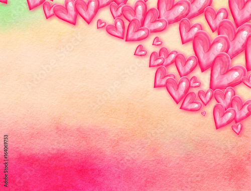 Watercolor Love Heart Background