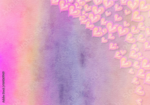 Lilac Watercolor Love Heart Background