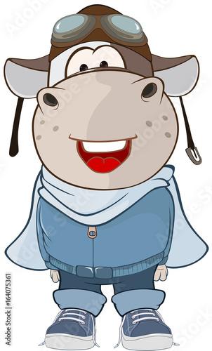 Illustration of a Cute Cow Aircraft Pilot. Cartoon Character