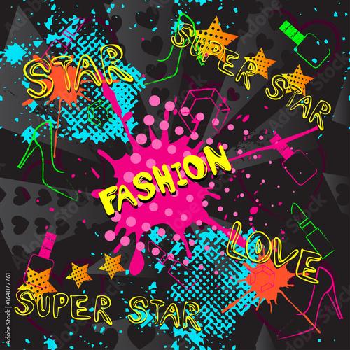 abstraktes-nahtloses-muster-fur-madchen-jungen-kleidung-kreativer-vektorhintergrund-mit-punkten-pomade-schuhe-stern-lustige-tapete-fur-gewebe-und-gewebe-modestil-bunt-hell-grun-blau-gelb