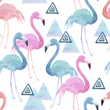 Watercolor seamless pattern with flamingo  and geometrical marble elements on white background