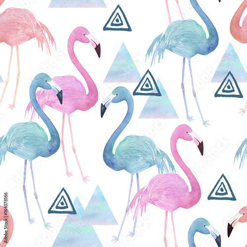 Watercolor seamless pattern with flamingo  and geometrical marble elements on white background - 164078166