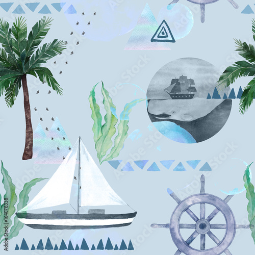 Watercolor summer background. Abstract seamless pattern with palm, sailboat, seaweed, geometrical elements. Hand drawn illustration