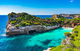 Picturesque seascape on Majorca island, view of the idyllic bay beach Cala Moro, Spain Mediterranean Sea