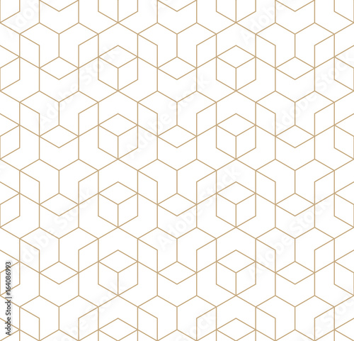 seamless geometric line grid vector cubes pattern - 164086993