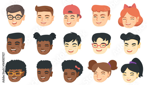 Vector set of kids laughing emoji cartoons.