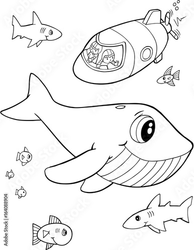 Fotobehang Cartoon draw Cute Whale Ocean Vector Illustration Art