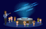 Innovation education elementary school african brown skin black hair group of kids planetarium science spaceship hologram on space future museum center. vector illustration.