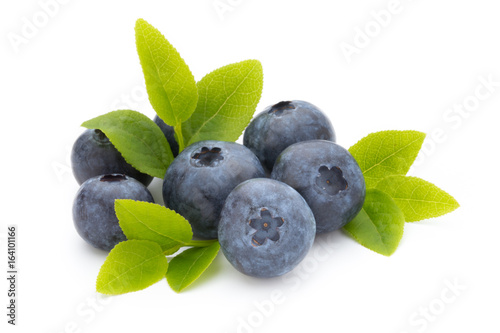 Fresh blueberries on a white background. - 164101166