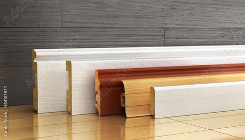 Set okrążanie różna forma na drewnianym tle. 3d ilustracja