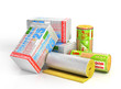 Roll of insulation wool for construction with styrofoam stack. Heating materials. 3d illustration - 164104942