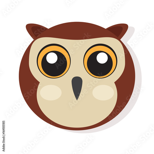 Isolated cute owl face on a white background, Vector illustration