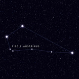 Sky Map with the name of the stars and constellations. Astronomical symbol constellation Piscis Austrinus