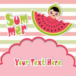 Summer greeting card with cute girl and watermelon on striped background vector cartoon for summer postcard and invitation card - 164119181