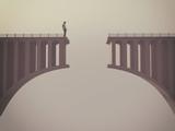 Man in front of a broken bridge - 164120166