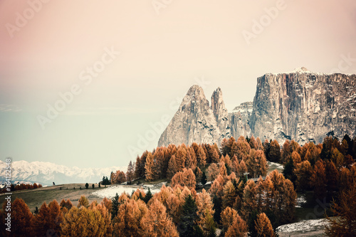 Vintage Autumn Landscape with Mountains - 164122548