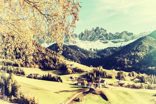 Vintage Autumn Landscape with Mountain