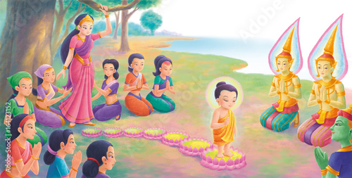 Illustration - Siddhartha was born, he walked seven steps forward. Each step, there was a lotus incredibly appeared on the ground to support