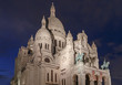 The Basilica of the Sacred Heart of Paris at night