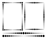Rectangular frames made of different dots and the same dividing lines. Vector illustration.