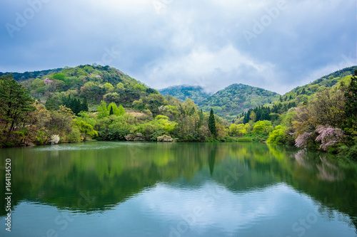 The reflection of the water is beautiful Korean reservoir Hwasun Selyangji.