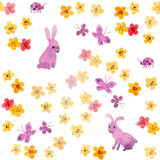 Seamless childish background - cute flowers, butterflies and hand painted rabbit