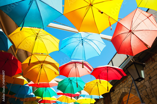 Fotobehang Cyprus Colorful umbrellas on the street in Limassol, Cyprus