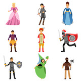 Medieval characters set, people in the historical costumes of medieval Europe vector Illustrations - 164148368